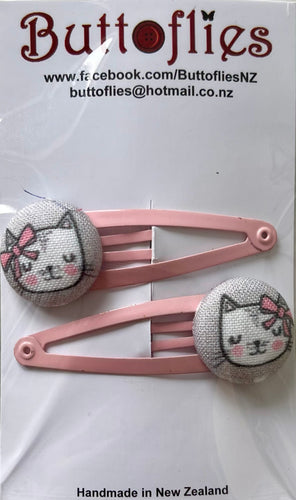 Button Hair Clip - Pretty Kitty