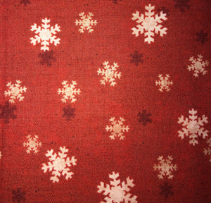 Snowflakes Red Fabric