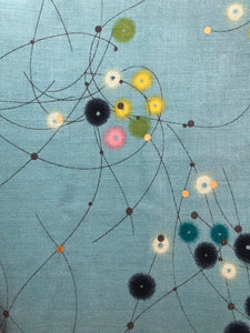 Watercolour Dots -Teal/Gold Fabric