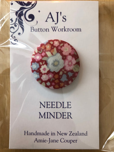 Needle Minder Red With Flower Pattern