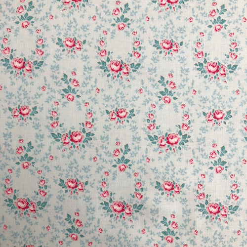 Old Rose Lucy Teal Mist Fabric