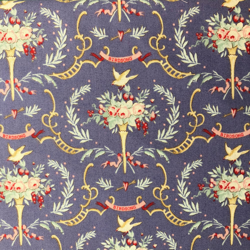 Old Rose Birdsong Blue Fabric