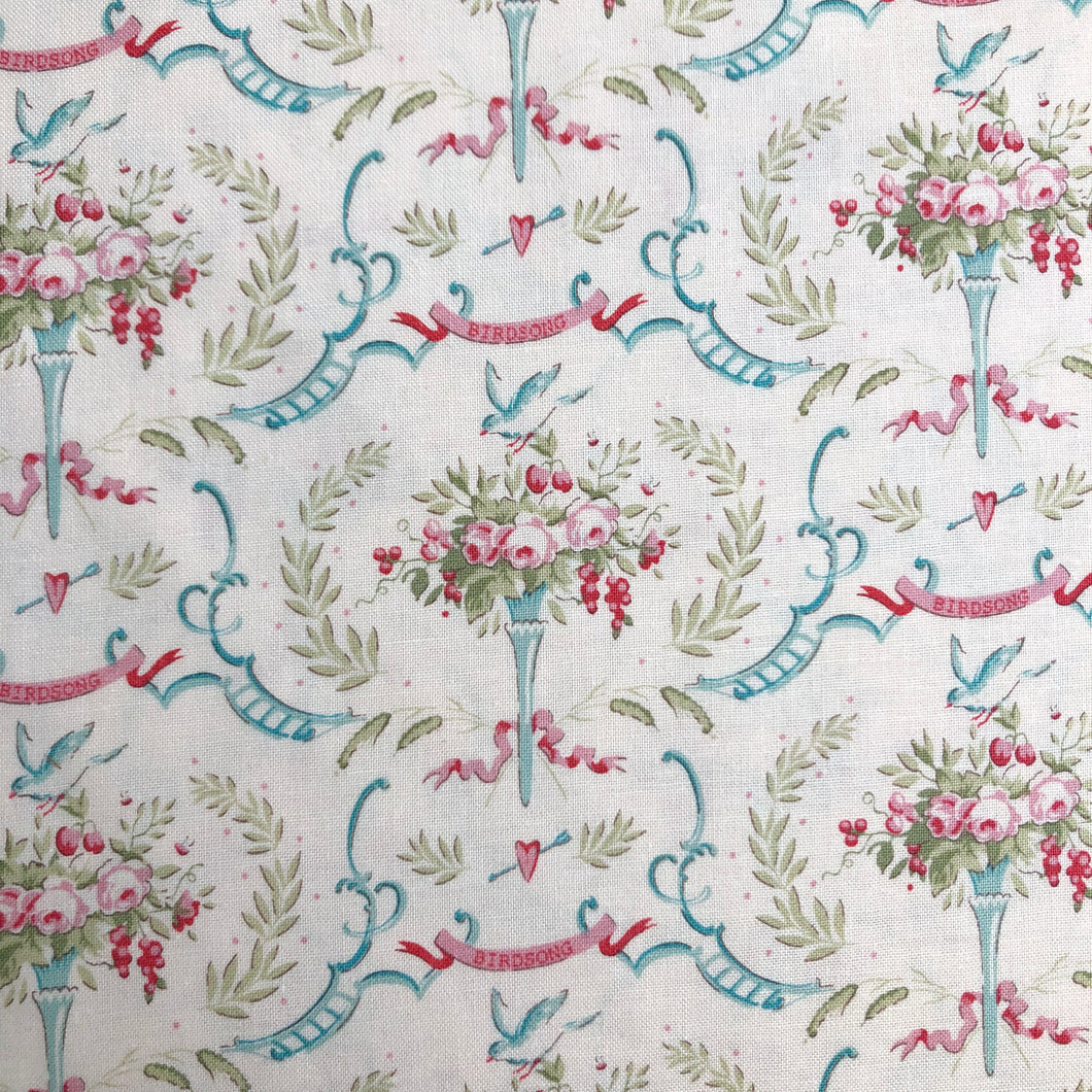 Old Rose Birdsong Dove White Fabric