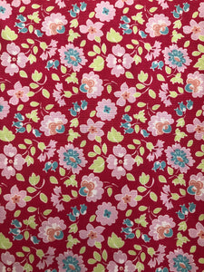 Paper Daisies Fabric - Pink Floral