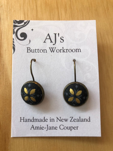 French Hook Earrings Black And Gold