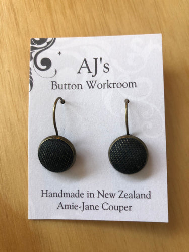 French Hook Earrings Black Textured