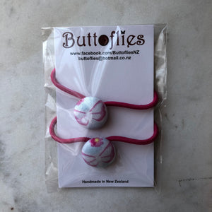 Button Hair Tie - Pink With Butterflies