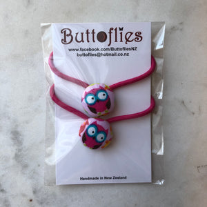 Button Hair Tie - Pink Owls