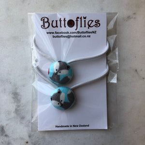 Button Hair Tie - Grey Foxes
