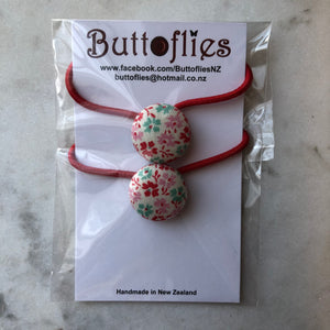 Button Hair Tie - Red With Floral Pattern