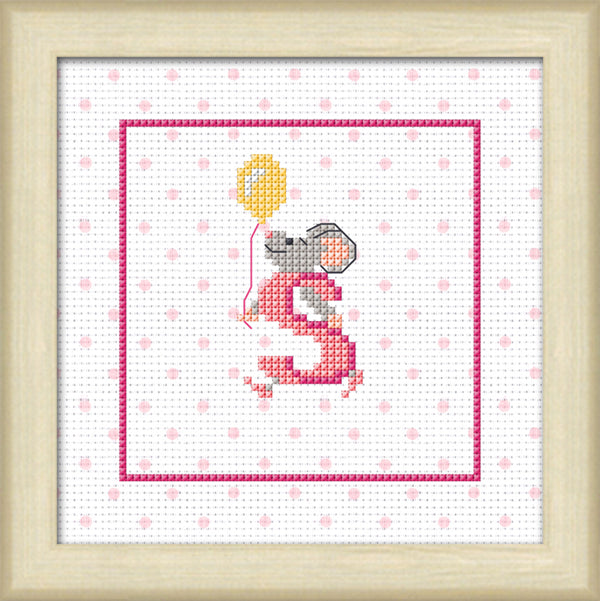 Mice Initials Pink Cross Stitch