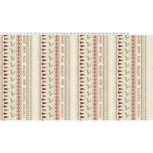 Fair Isle Stripe Light Khaki Fabric