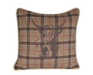 Highland Bull Wool Cushion