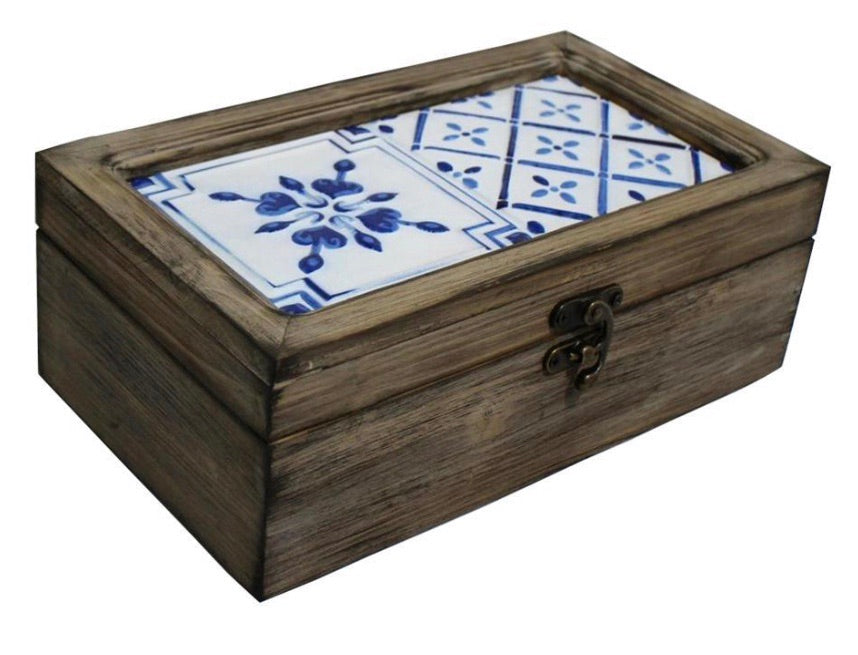 Blue Metal Tiled Wooden Lidded Box