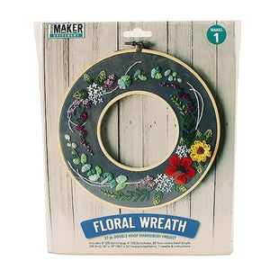 Mini Maker - Floral Hoop Wreath Embroidery Kit