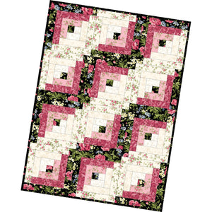 Poppies - 12 Block Log Cabin Quilt Kit