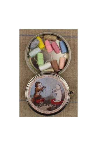 Sajou Cat and Dog Round Metal Tin With Mini Threads