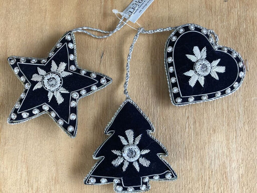 Star, Heart and Christmas Tree Hanging Decoration