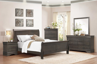 Louis Philip Stained Gray Sleigh Bedroom Set ***