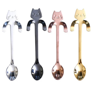 Cute Mini Stainless Steel Kitty Cat Coffee Spoon