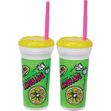 Lemonade Cups - Plastic 32 oz.  w/ Straw & Lid (200/case)