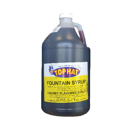 TOP HAT Cherry Snow Cone Syrup - gal. - $11.95, Snow Cone Supplies, Cromers Pnuts, LLC - Cromers Pnuts, LLC