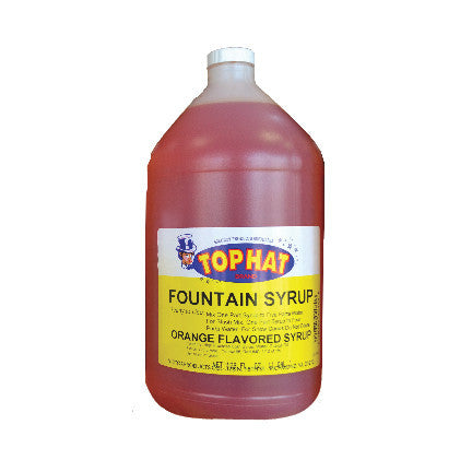 TOP HAT Orange Snow Cone Syrup - gal. - $11.95, Snow Cone Supplies, Cromers Pnuts, LLC - Cromers Pnuts, LLC