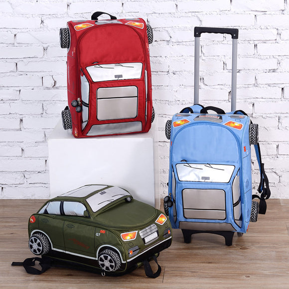 New design boy school bag with wheels for kids wholesale children car shape trolley backpack