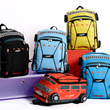 Kindergarten, car, schoolbag