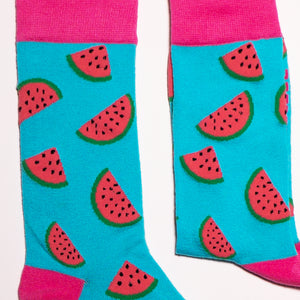 Watermelon Socks! Fruity. One in a series of five pairs of socks each representing your favorite fruits. Buy individually or as part of your 5-A DAY! Buy 4 in the collection and get your 5th fruity pair for FREE! Yum - melons! The 5-A-DAY collection consists of Banana-rama, Strawberry Surprise, Cherry On Top, Perfect Pineapples and Melon Deliciousness. Soft. Strong. Comfortable. Sustainable.   Available in US Men's 4-8 and 8-12