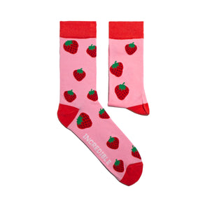 Strawberry Socks! Fruity. One in a series of five pairs of socks each representing your favorite fruits. Buy individually or as part of your 5-A DAY! Buy 4 in the collection and get your 5th fruity pair for FREE! Yum - strawberries.  The 5-A-DAY collection consists of Banana-rama, Strawberry Surprise, Cherry On Top, Perfect Pineapples and Melon Deliciousness. Soft. Strong. Sustainable. Comfortable.   Available in US Men's 4-8 and 8-12