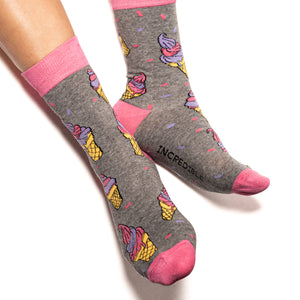 Simply delicious socks! These over the top ice cream and sprinkles socks mean your feet will never be far from compliments. Bold pink, vibrant purple, deep grey and tons of yummy attitude.  Soft. Strong. Comfortable. Sustainable.  Available in US Men's 4-8
