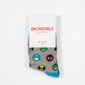 Kids socks with colorful superheroes. Spider Man, Captain America, Iron Man, The Hulk. Made from sustainable bamboo.