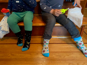 Kids socks with colorful superheroes and rockets. Spider Man, Captain America, Iron Man, The Hulk. Made from sustainable bamboo.