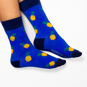 Pineapple Socks! Fruity. One in a series of five pairs of socks each representing your favorite fruits. Buy individually or as part of your 5-A DAY! Buy 4 in the collection and get your 5th fruity pair for FREE!  The 5-A-DAY collection consists of Banana-rama, Strawberry Surprise, Cherry On Top, Perfect Pineapples and Melon Deliciousness. Soft. Strong. Sustainable. Comfortable.  Available in US Men's 4-8 and 8-12