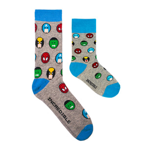Kids and Adults socks with colorful superheroes. Spider Man, Captain America, Iron Man, The Hulk. Made from sustainable bamboo.