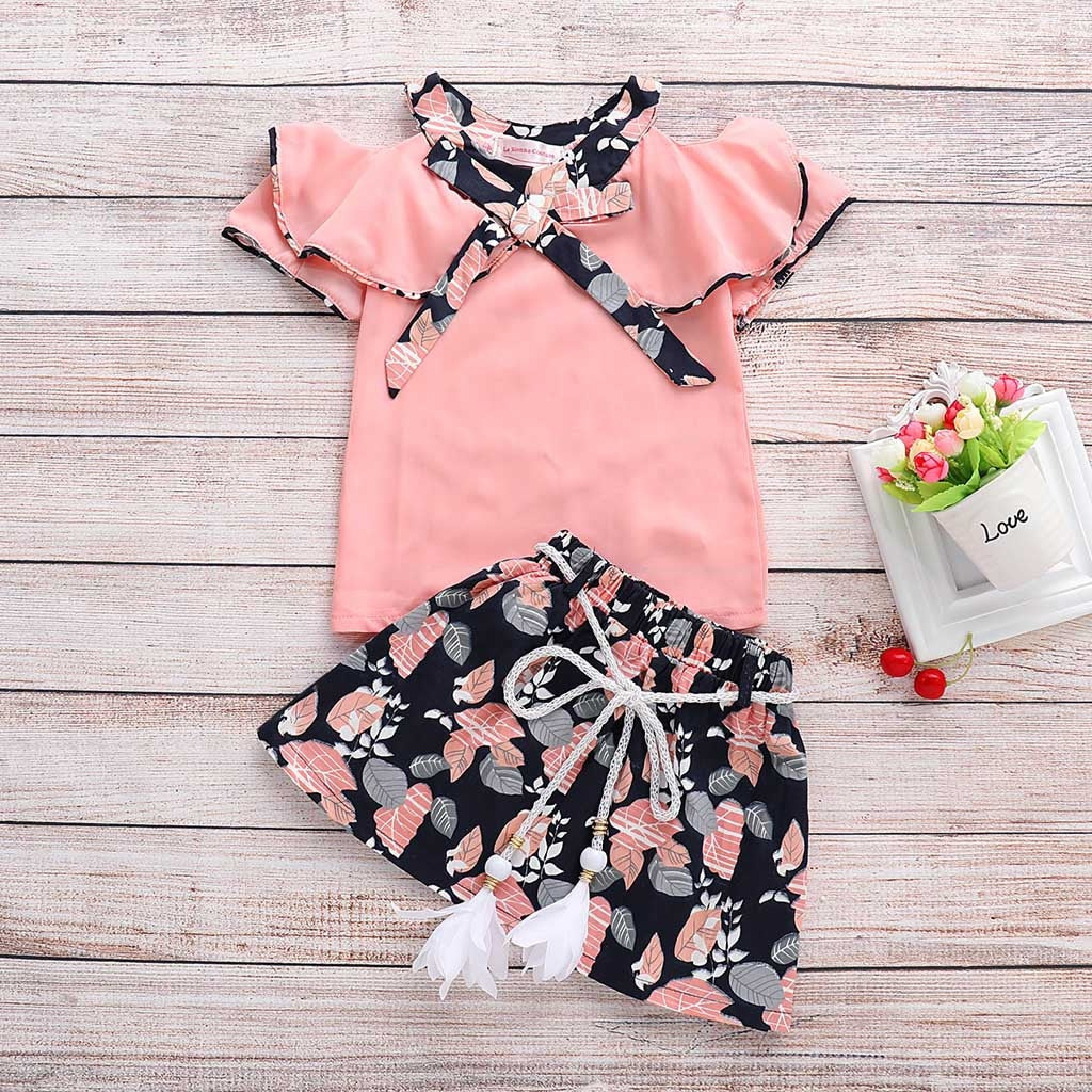 e0c3e603af4ed 2019 Toddler Infant Baby Girls clothes Floral Print Rufflus Bowknot Tops  Skirt Outfits clothes Set costume kids girls clothing