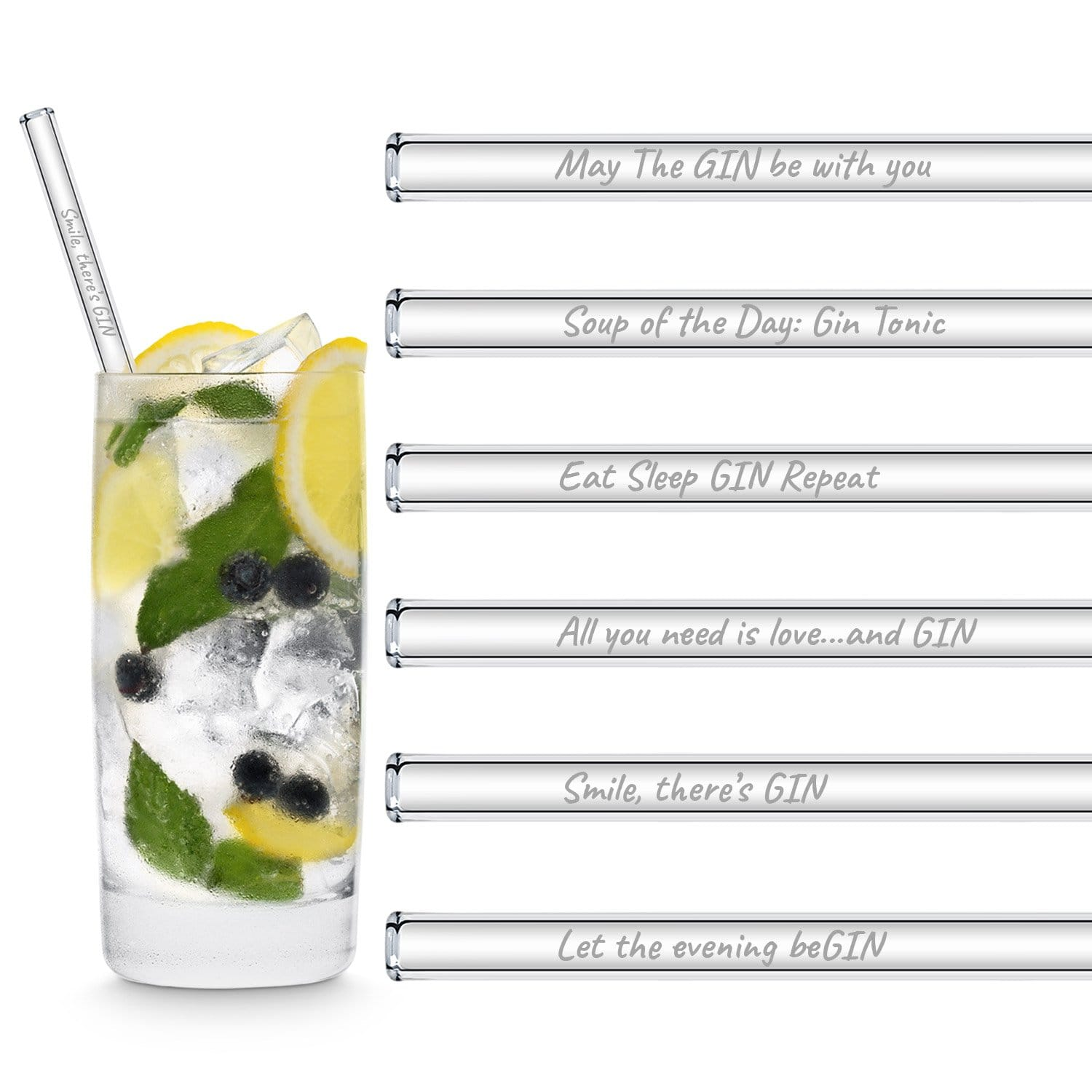 Glass Straws with Gin sayings for gin tonic cocktail recipes Reusable Colour straws plastic straw alternatives gift for mum