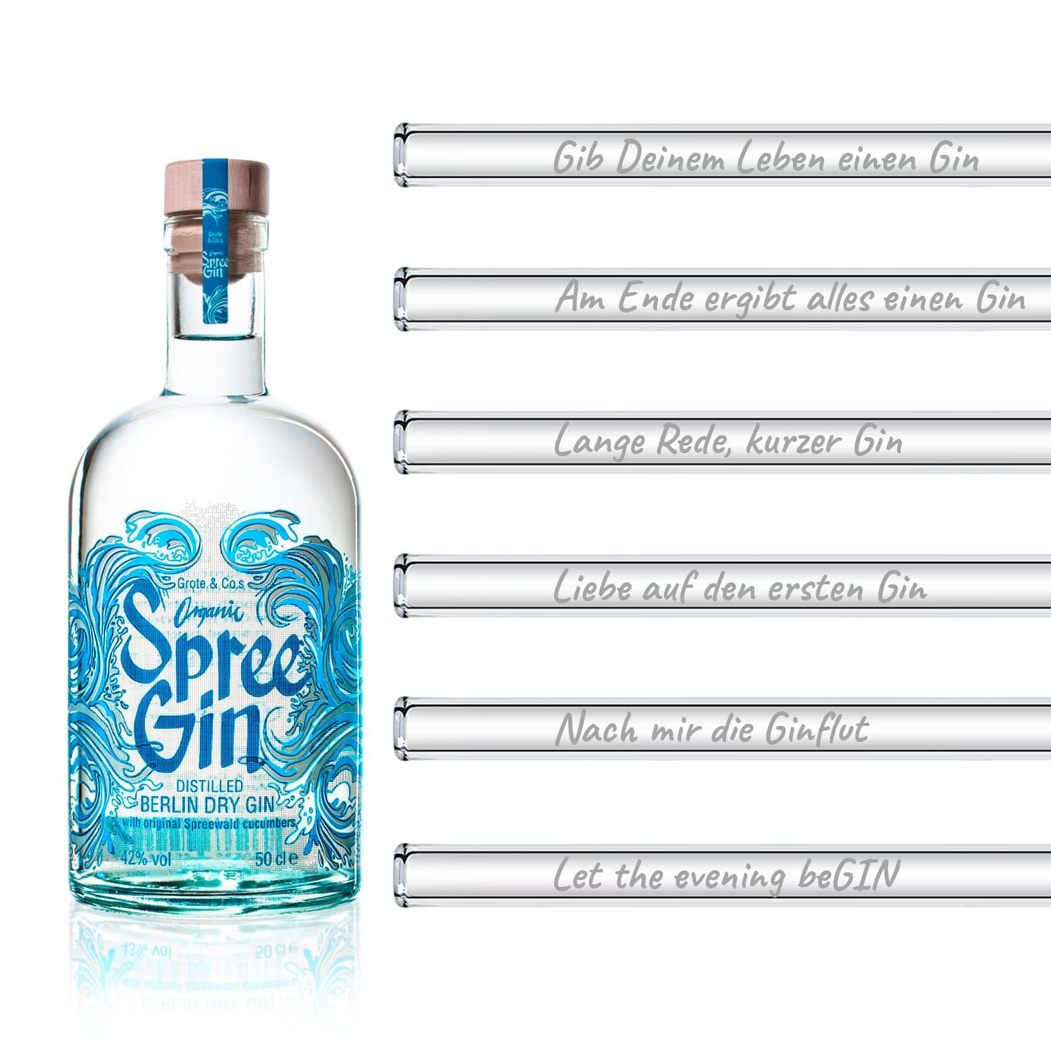 Spree Gin 500ml + Gin Sprüche Set 6 HALM Glastrinkhalme