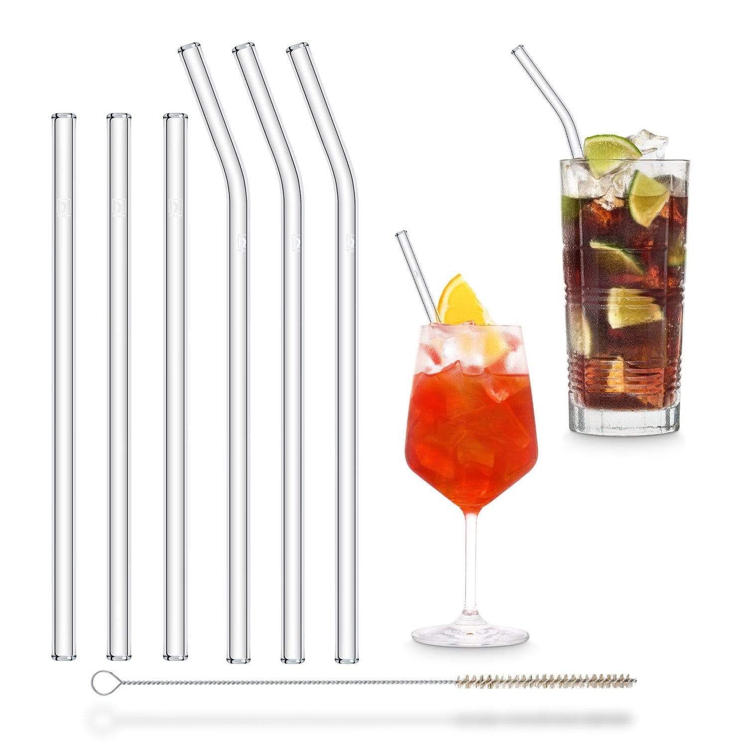 Reusable straws environmentally friendly mixed set bundle glass straws 3 x 23cm Bent 3 x 20cm with cleaning brush