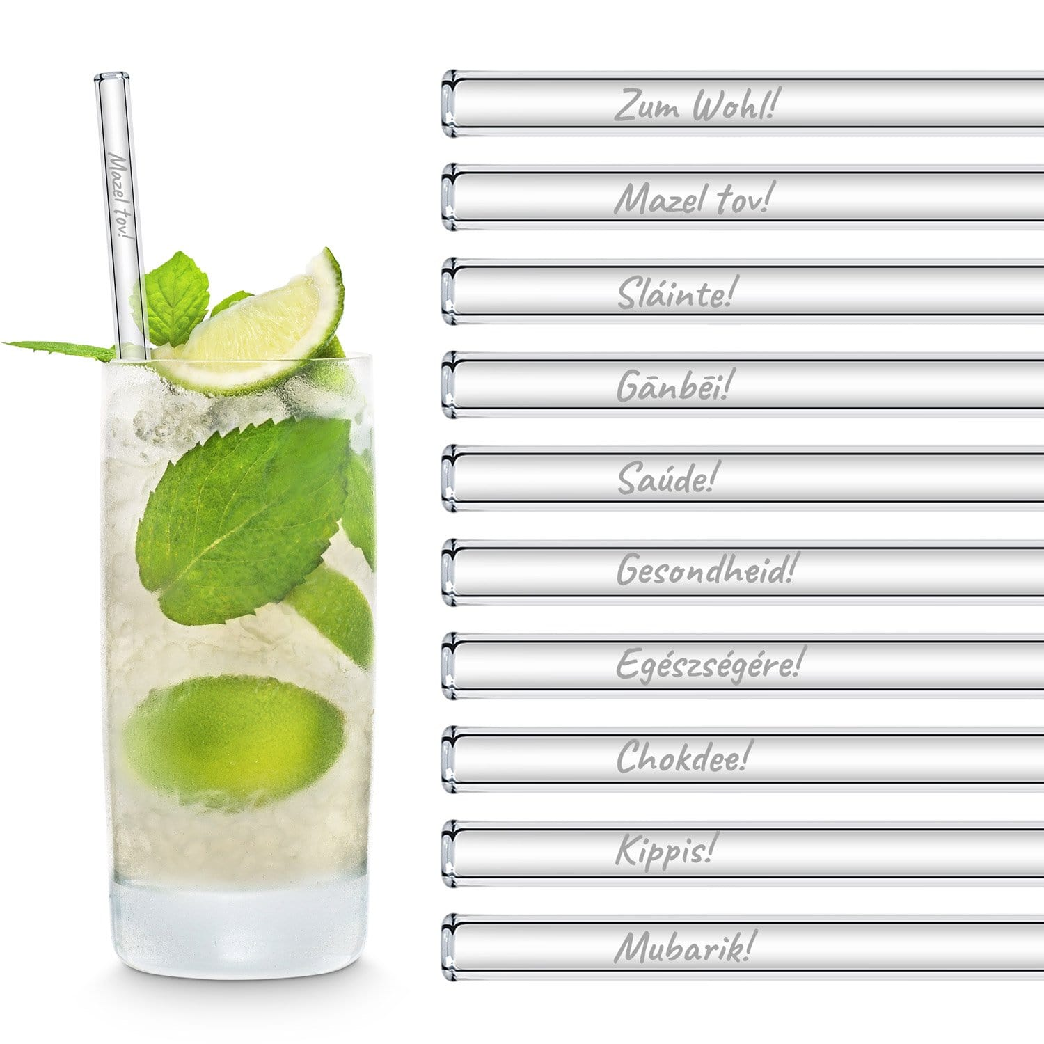"International Toasting Glass Straws Party Set with 20 Mixed Engraved""Prost""in different languages - 20 pieces"