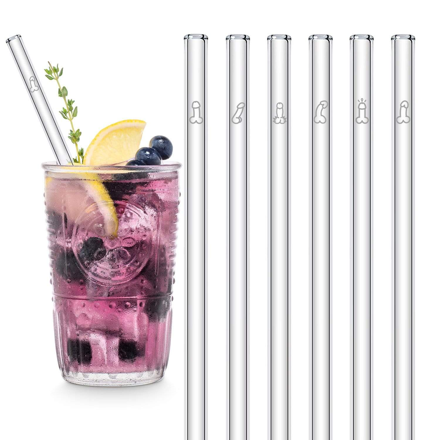 Penis Strohhalm Edition 6x 20cm Glastrinkhalme Willy Straws