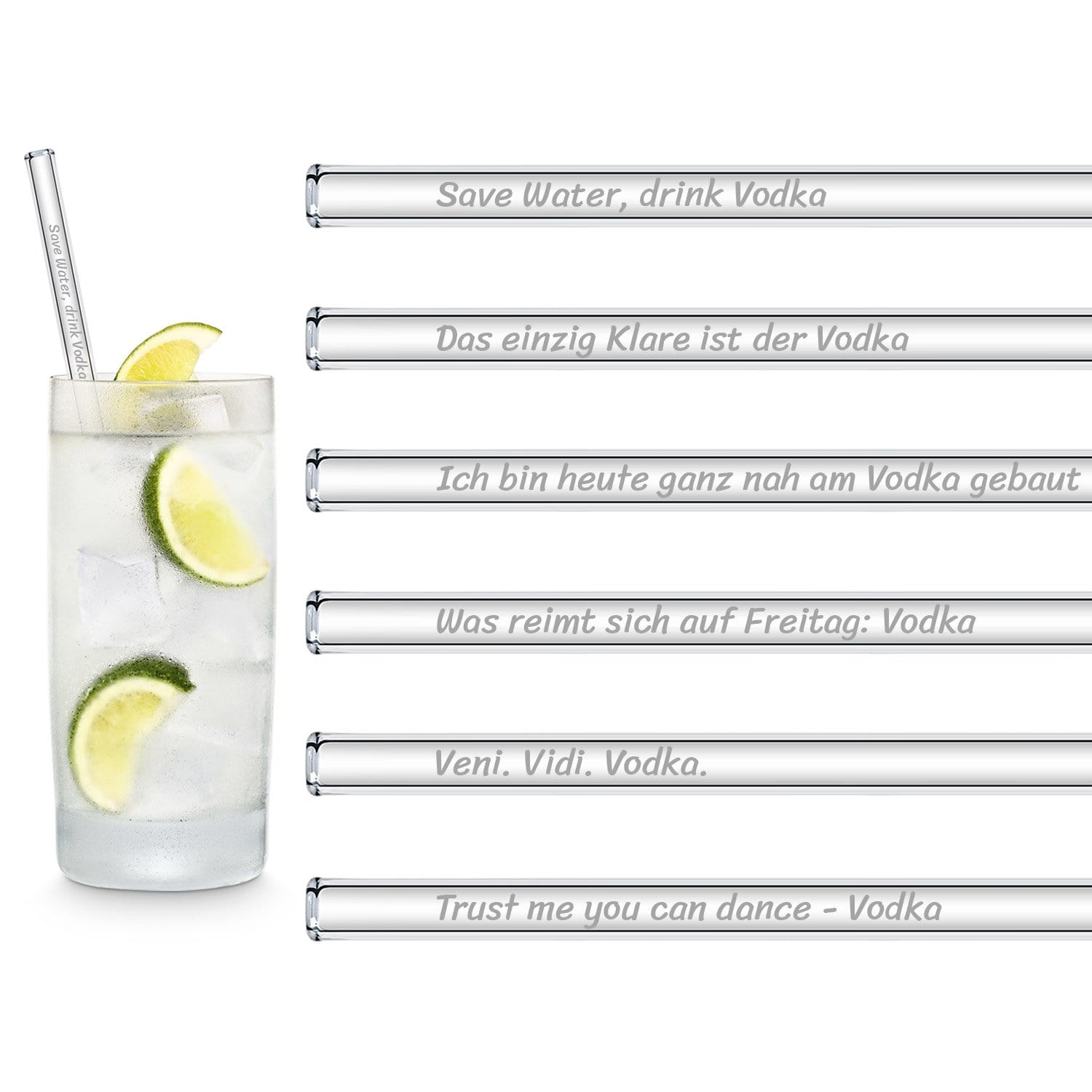 Alcoholic sprueche vodka cocktail party trinkhalme aus glas 6 stueck geschenk gin tonic