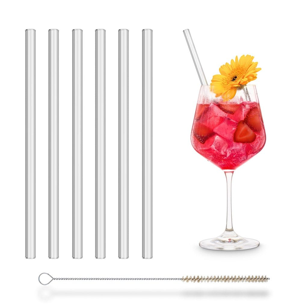 Glas strohhalme mit riffel optik glastrinkhalme rillen effekt sommer cocktail 6er Set