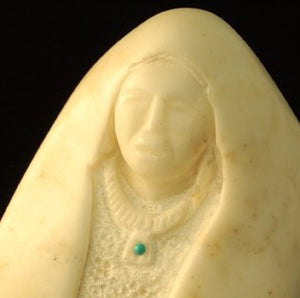 Alabaster Sculpture Native American Art of a Corn Grinder AAA101