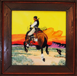 Bucking Bronc Original Western Art Painting by Dan Howard