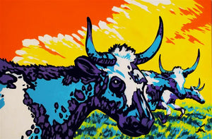 Longhorn Cattle Original Painting by Dan Howard