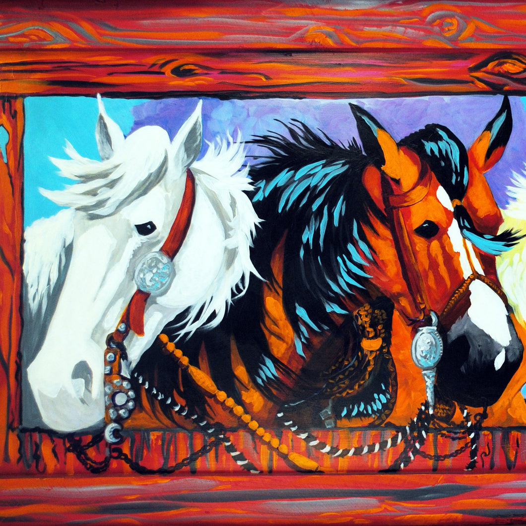 Horses Original Art Painting by Dan Howard