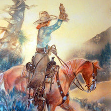 Load image into Gallery viewer, Larry Bute Western Art Painting Waving Cowgirl ALB103