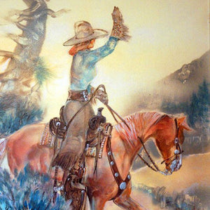 Larry Bute Western Art Painting Waving Cowgirl ALB103